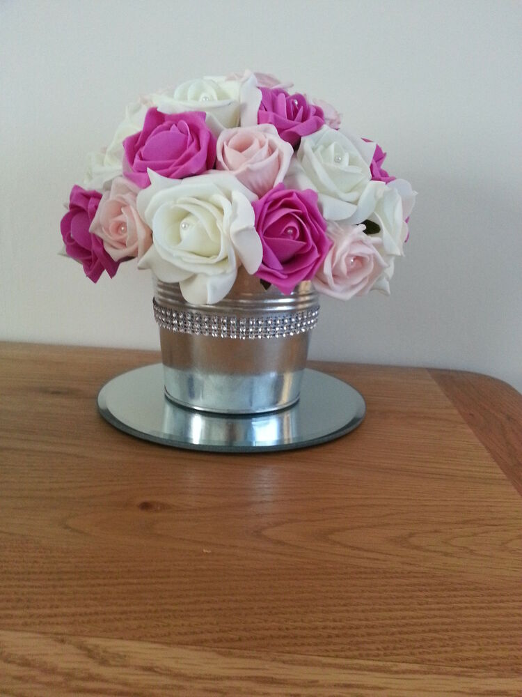 Fuchsia hot pink light and ivory centerpiece