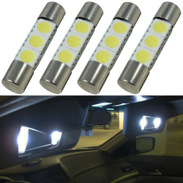 4pcs Xenon White 29mm 3-SMD 6641 Fuse LED Car Vehicle Visor Vanity Mirror Lights eBay