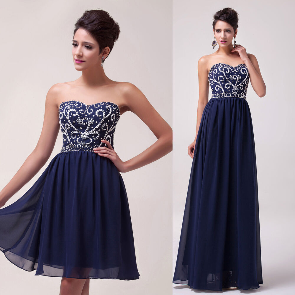 xmas vintage navy blue strapless cocktail long evening wedding party prom dress ebay. Black Bedroom Furniture Sets. Home Design Ideas