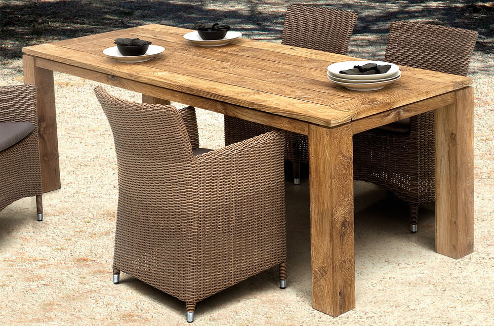 tisch dorado old teak garten esstisch gartentisch wohnen teakholz destiny 220cm ebay. Black Bedroom Furniture Sets. Home Design Ideas