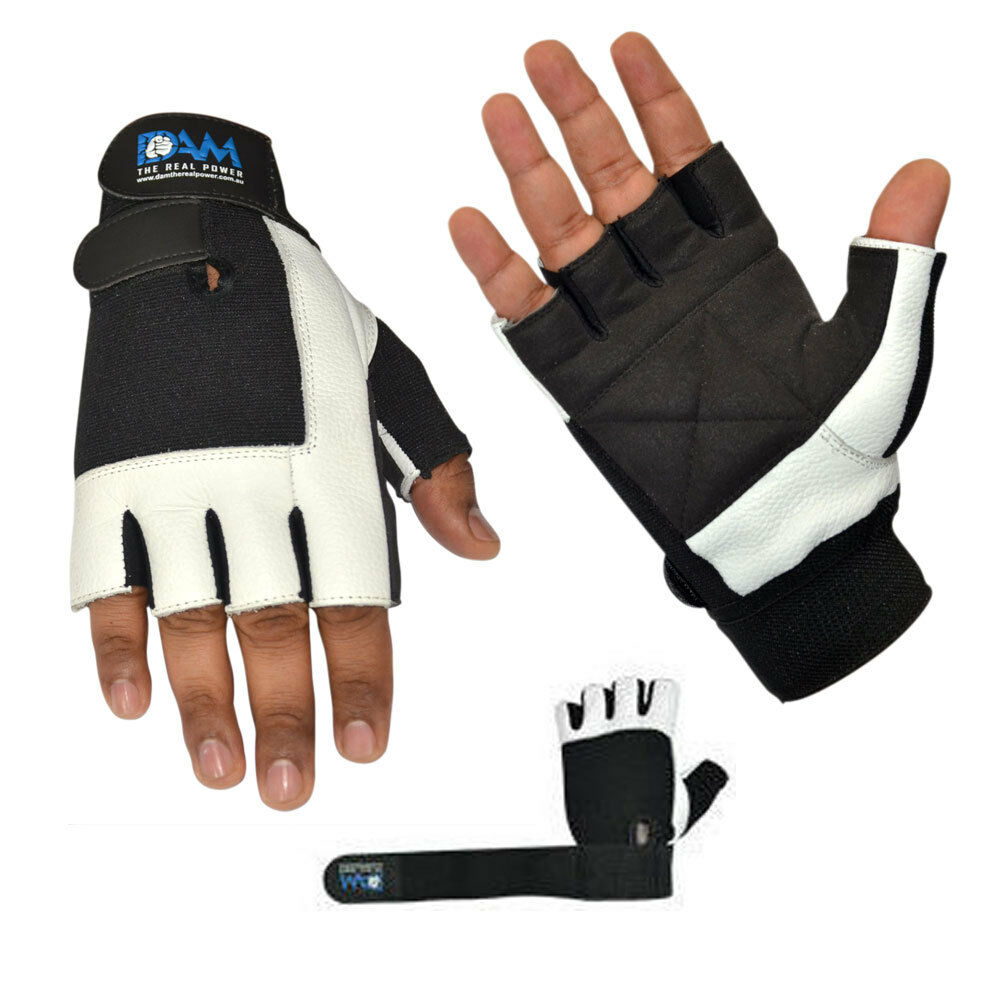 Black Leather Weight Lifting Workout Gloves: DAM WEIGHT LIFTING GYM GLOVES BODY BUILDING WORKOUT WHITE