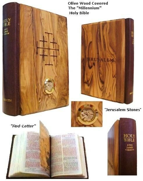red letter bible new olive wood millennium bible with jerusalem stones 13816 | s l1000