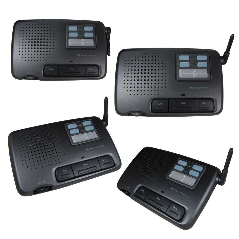 intercom 4 channel digital wireless office home store security 4 units us seller ebay. Black Bedroom Furniture Sets. Home Design Ideas