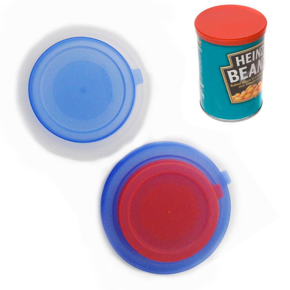 2pc can lid covers reusable plastic tin food pet food can 2 standard size caps ebay. Black Bedroom Furniture Sets. Home Design Ideas