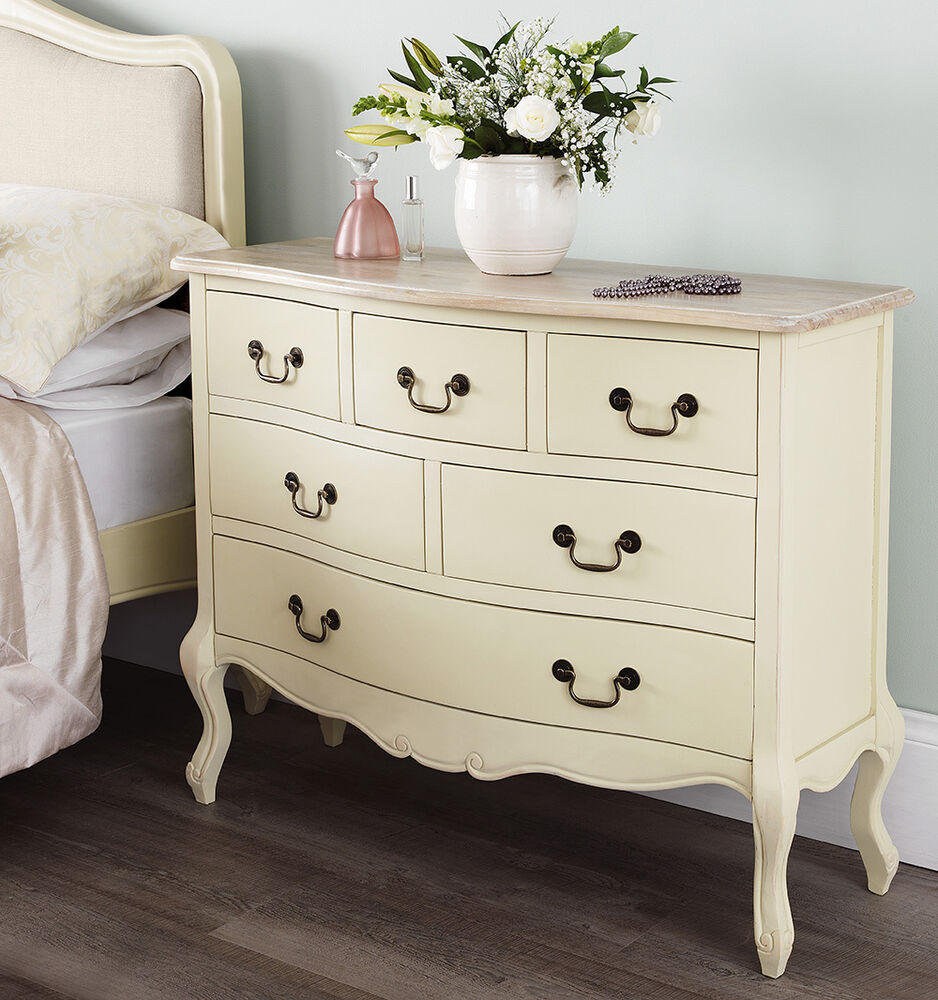 juliette shabby chic cream 6 drawer chest assembled french furniture quality ebay. Black Bedroom Furniture Sets. Home Design Ideas