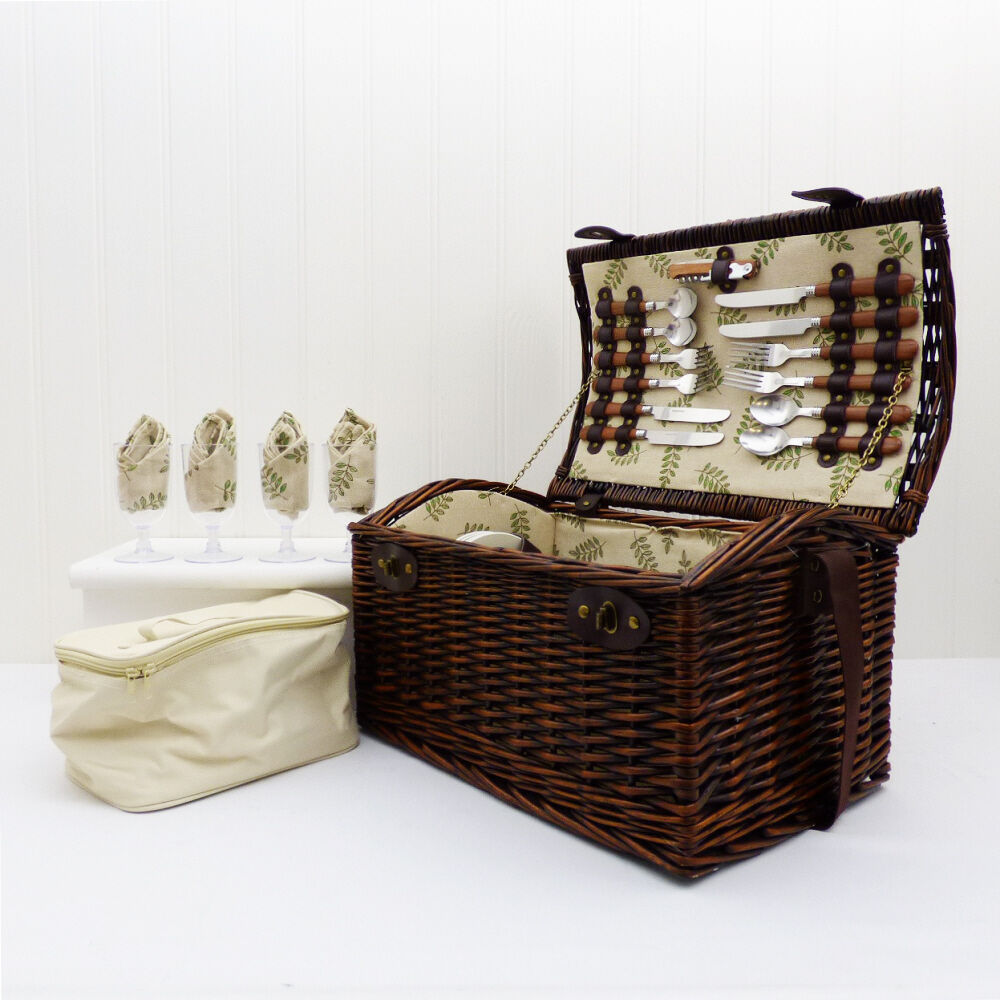 4 Person Picnic Basket Uk : Deluxe person wicker picnic basket chiller cooler bag