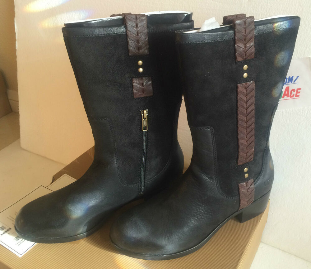 ugg w jaspan black leather boots size us 7 5 uk 6