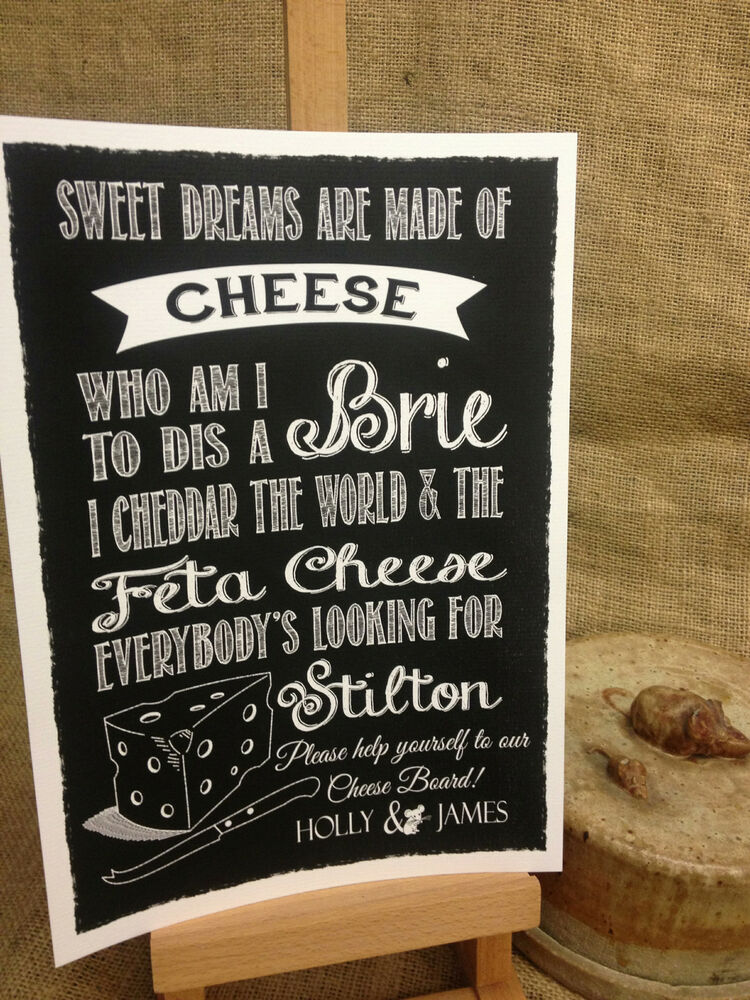 CHEESE SONG For Board PERSONALISED Chalkboard Style Print