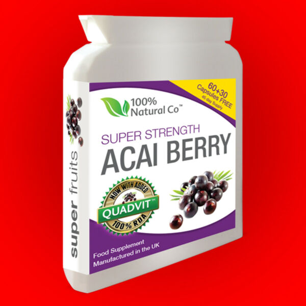 Acai Berry Ultra-5000 Super Strength 90 Caps Veggie Friendly - Weight Loss Pills
