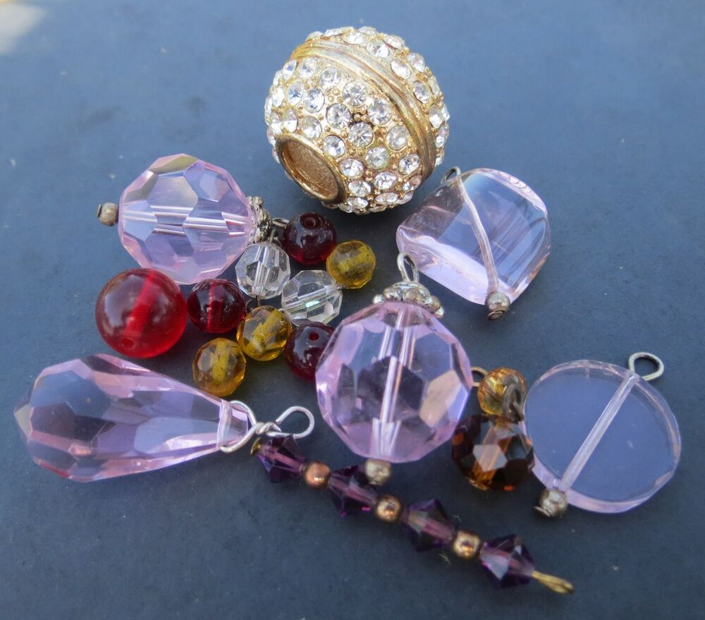 Craft lot including glass beads large pink crystal for Glass jewels for crafts