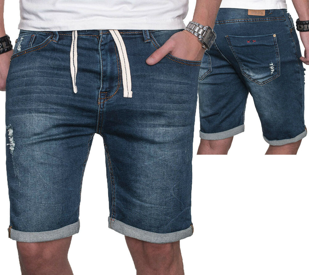 coole herren jogg jeans shorts kurze bermuda hose dunkel blau w29 w38 neu b23 ebay. Black Bedroom Furniture Sets. Home Design Ideas