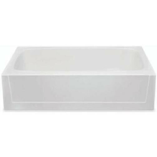 Bathtub fiberglass acrylic white soaking tub 16 deep for Fiberglass garden tub