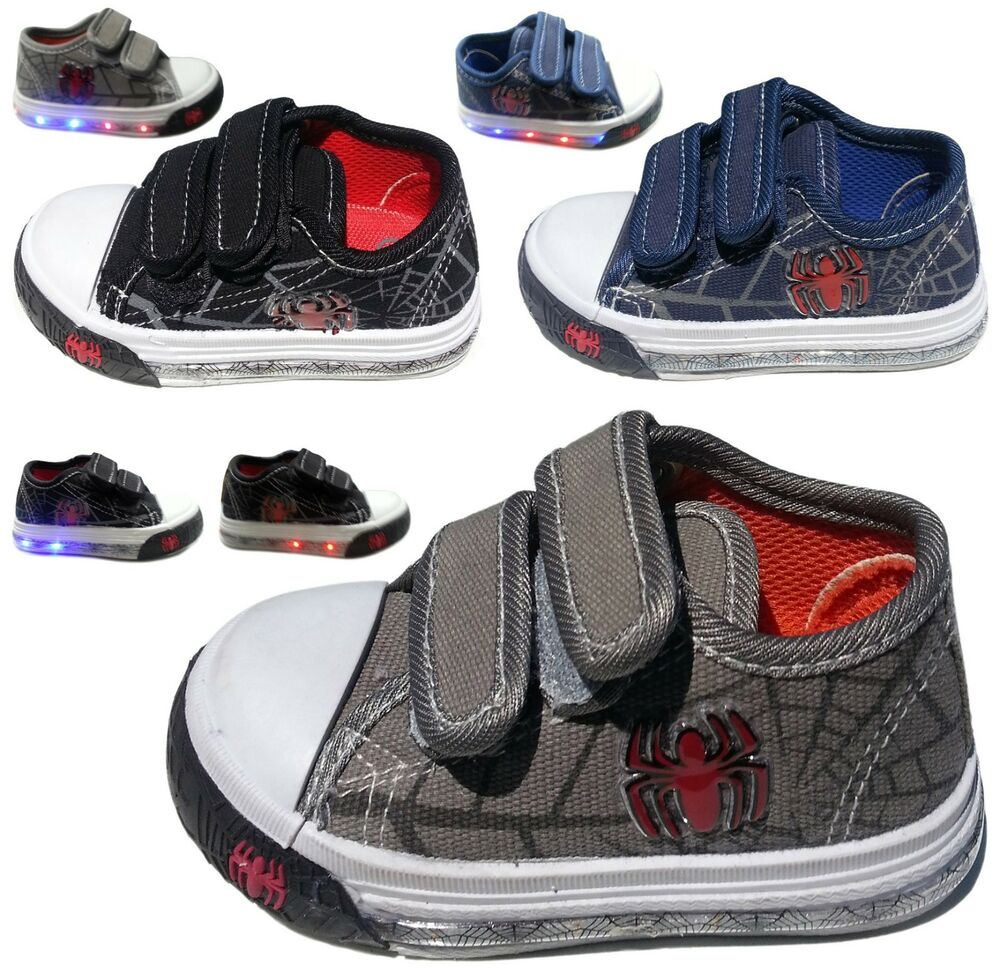 Light Up Boys Baby Toddler Spider Web Canvas Flat Sneaker ...