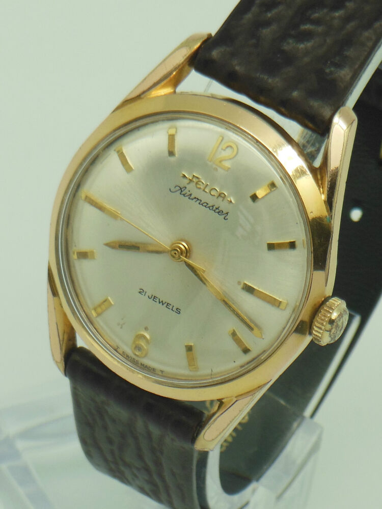 Mens vintage 1960s felca airmaster gold plated swiss made 21 jewel winding ebay for Watches on ebay