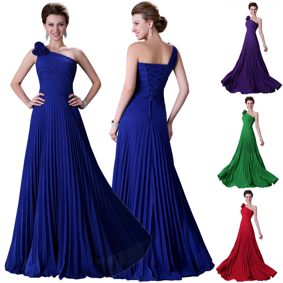 Women long chiffon formal evening party ball gown prom for Ebay wedding bridesmaid dresses