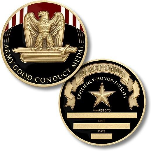 Army Good Conduct Service Medal Challenge Coin Engraveable ...
