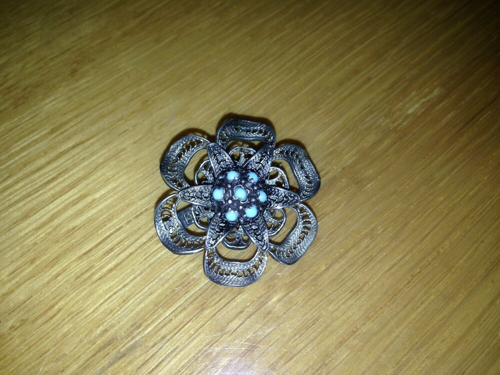 Sterling Silver Filigree And Turquoise Brooch Pin Marked