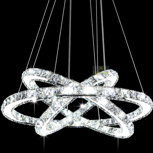 Modern Crystal 3 Rings Chandelier Contemporary Pendant