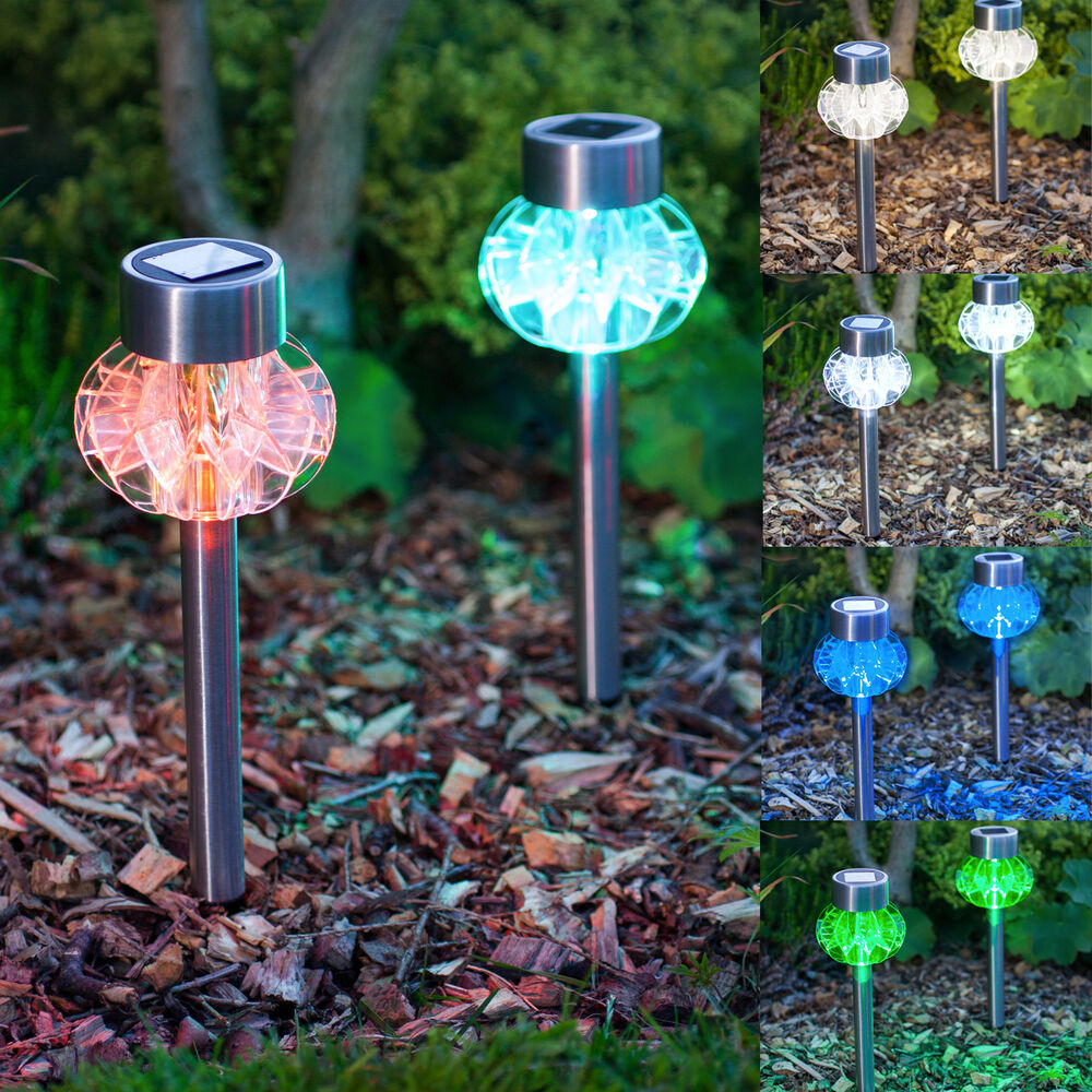 2 Colour Changing Led Stainless Steel Solar Stake Lights: X 2 4 6 8 Set Of Solar Powered LED Stainless Steel Stake