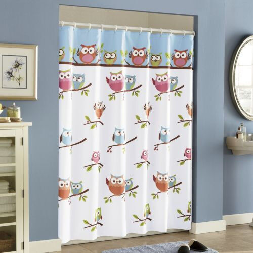 New Saturday Knight Bathroom Fabric Shower Curtain Hooty