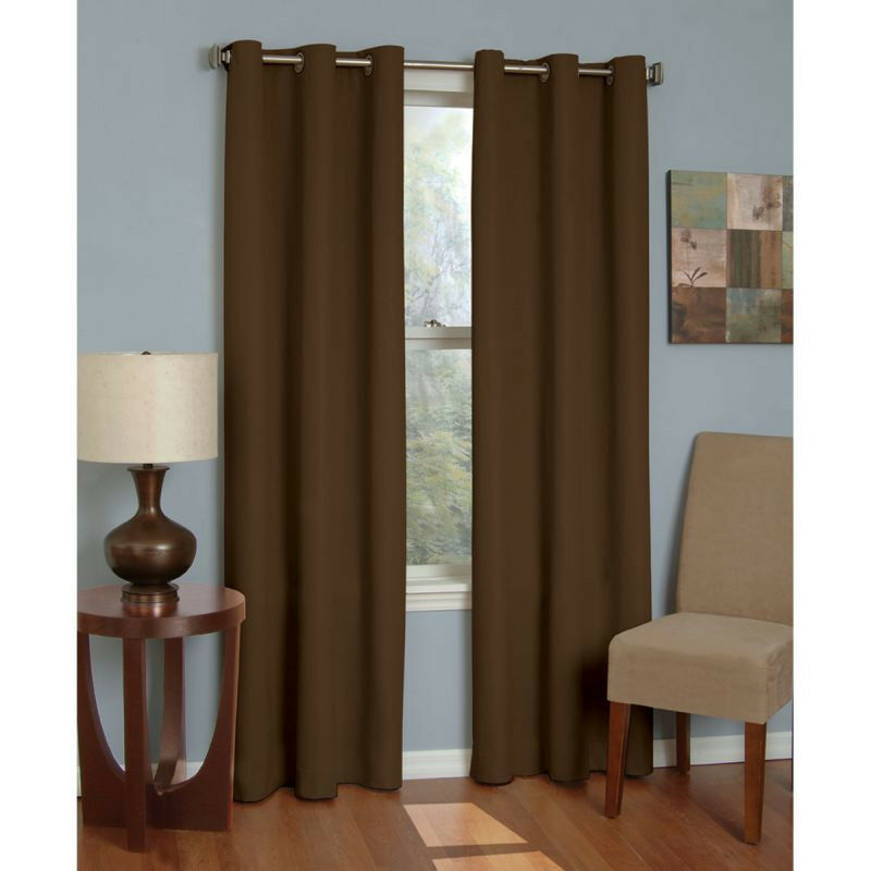 2PC BROWN SOLID GROMMET FOAM LINED BLACKOUT LIGHT PRIVACY