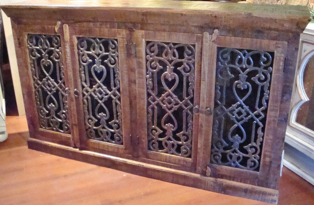 Cabinet Rustic Brown Iron Inserts Credenza Buffet Media Ebay
