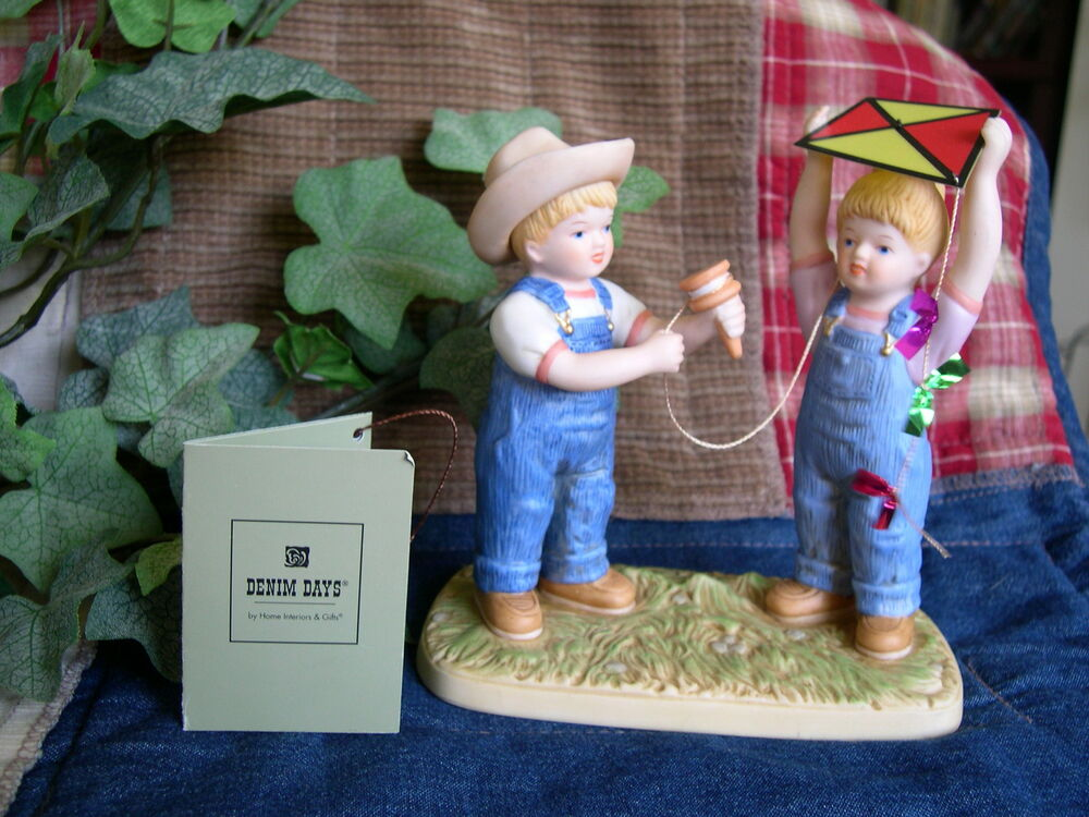 Home interiors homco denim days let 39 s fly kite figurine Home interiors denim das