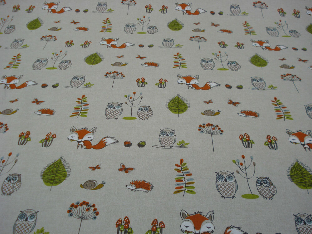 Fryett S Fabrics Woodland Fox Owls Animals 100 Cotton