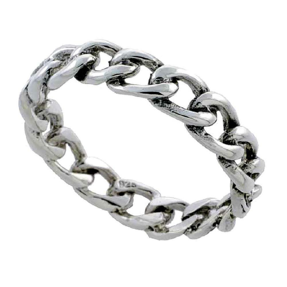 Sterling silver cable link chain wedding band thumb ring for The sterling
