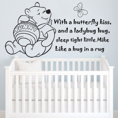 """Winnie The Pooh Quote Art: Winnie The Pooh """"With A Butterfly Kiss"""" Personalize Wall"""