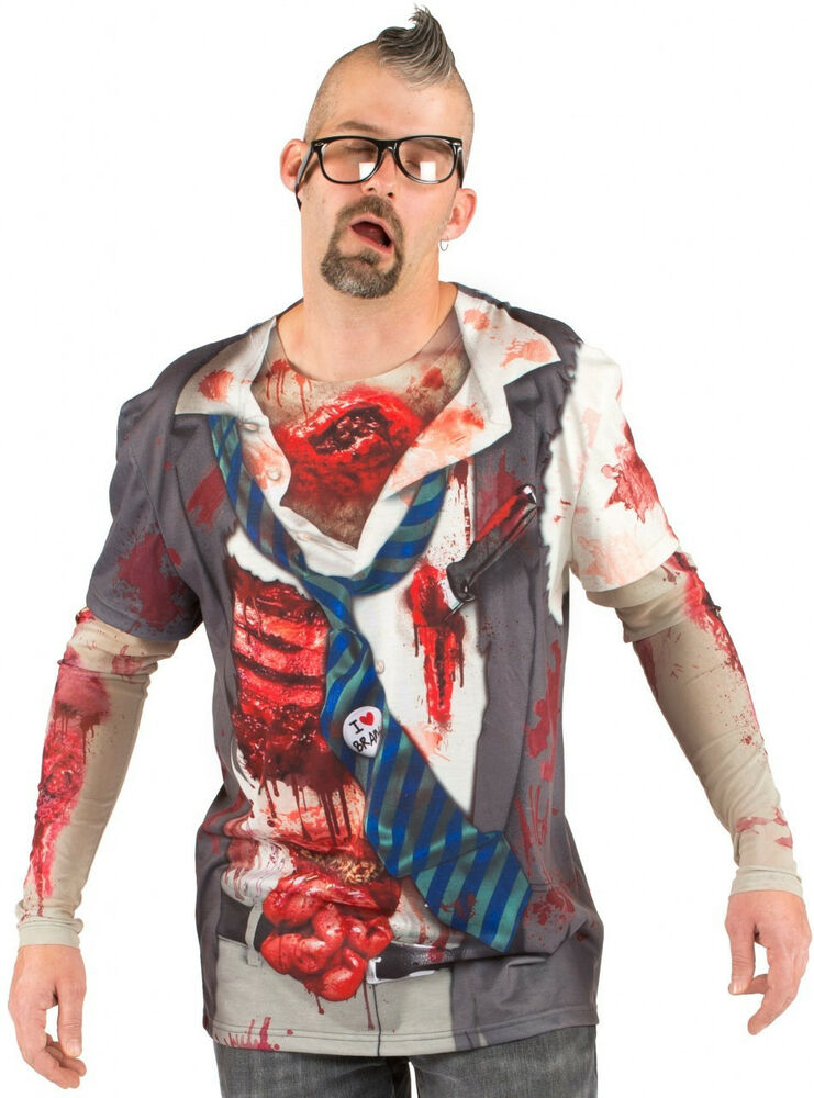 faux real zombie costume tee the walking dead t shirt halloween party cosplay ebay. Black Bedroom Furniture Sets. Home Design Ideas