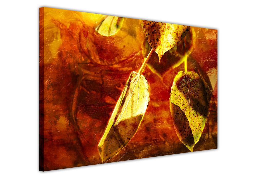 Wall Art Red Leaves : Canvas wall art prints pictures golden red abstract leaf