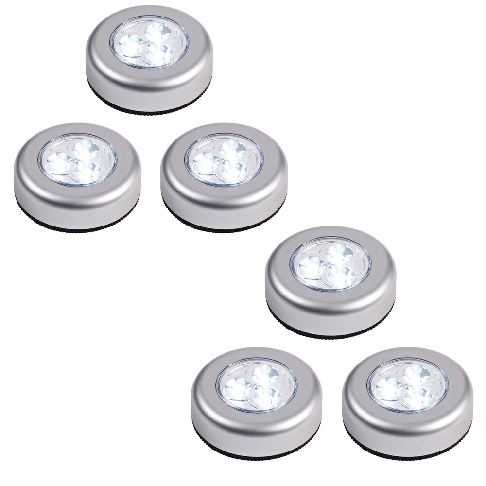 set of 6 round led battery operated stick on under cabinet cupboard push lights ebay. Black Bedroom Furniture Sets. Home Design Ideas