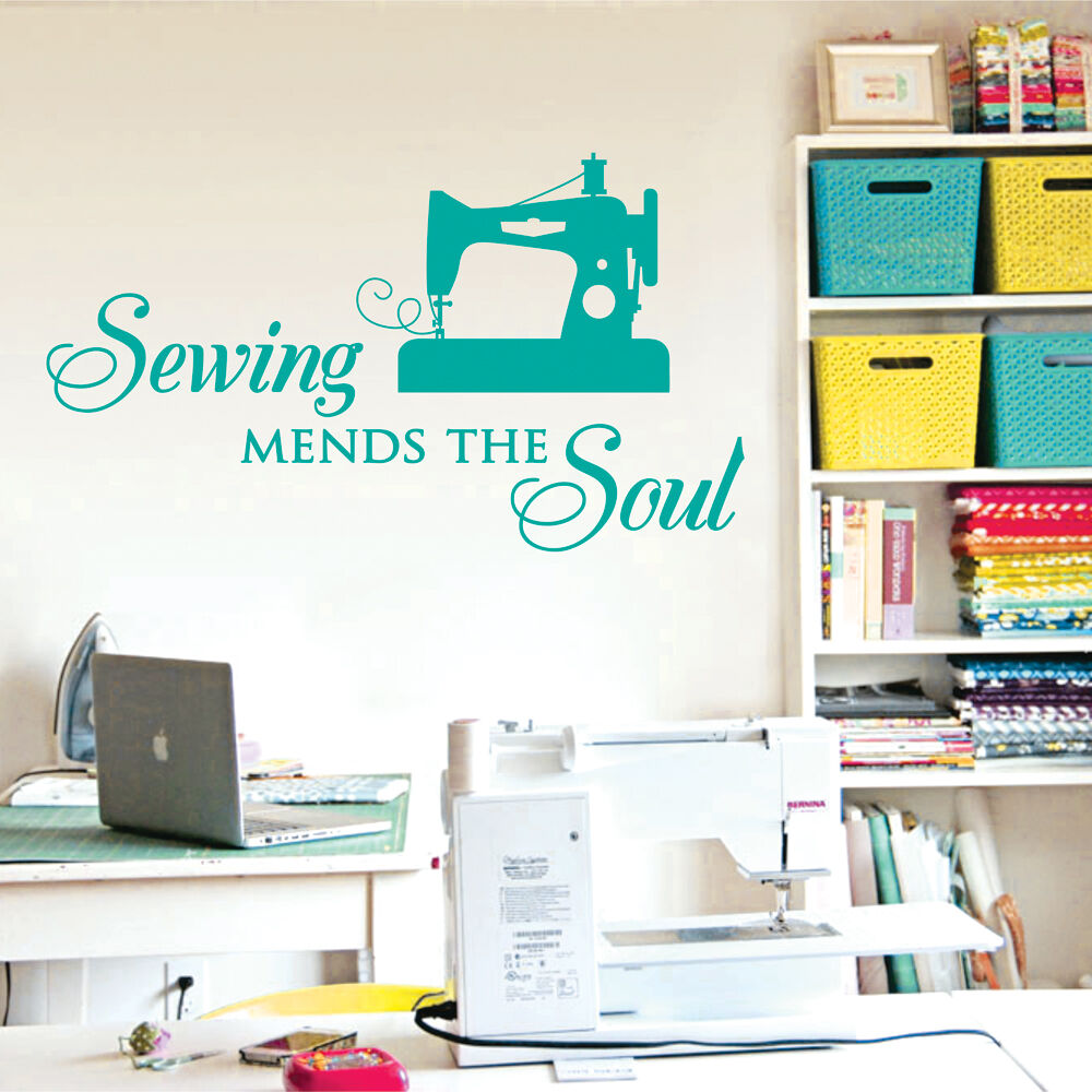 Wall Decor Craft Room : Sewing mends the soul saying vinyl wall decals quote