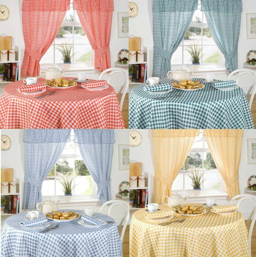 MOLLY WHITE GINGHAM CHECK TABLECLOTHS / KITCHEN CURTAINS