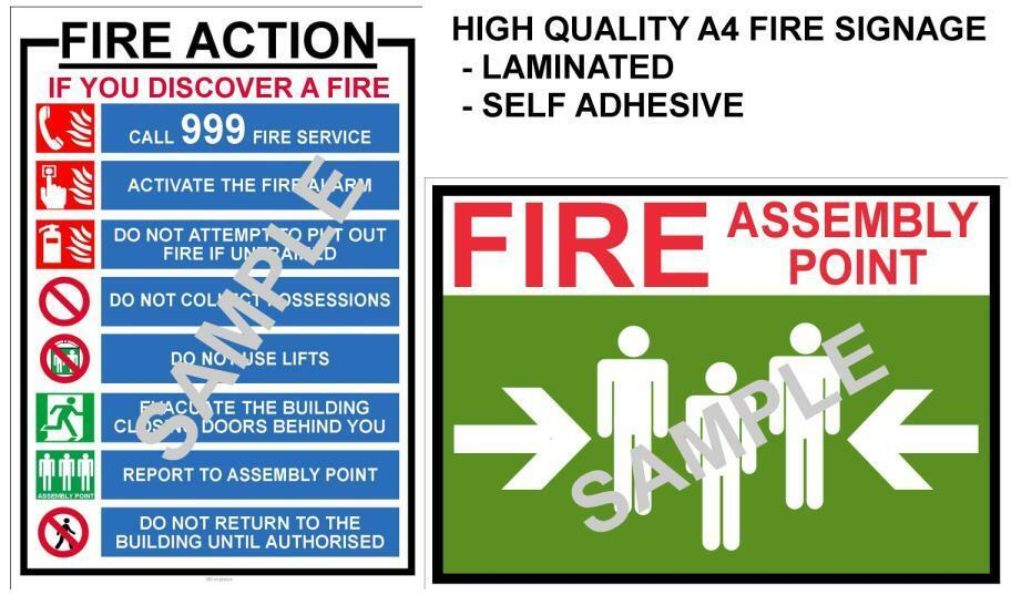 FIRE HEALTH & SAFETY SIGNS A4 LAMINATED POSTERS WORKPLACE ...