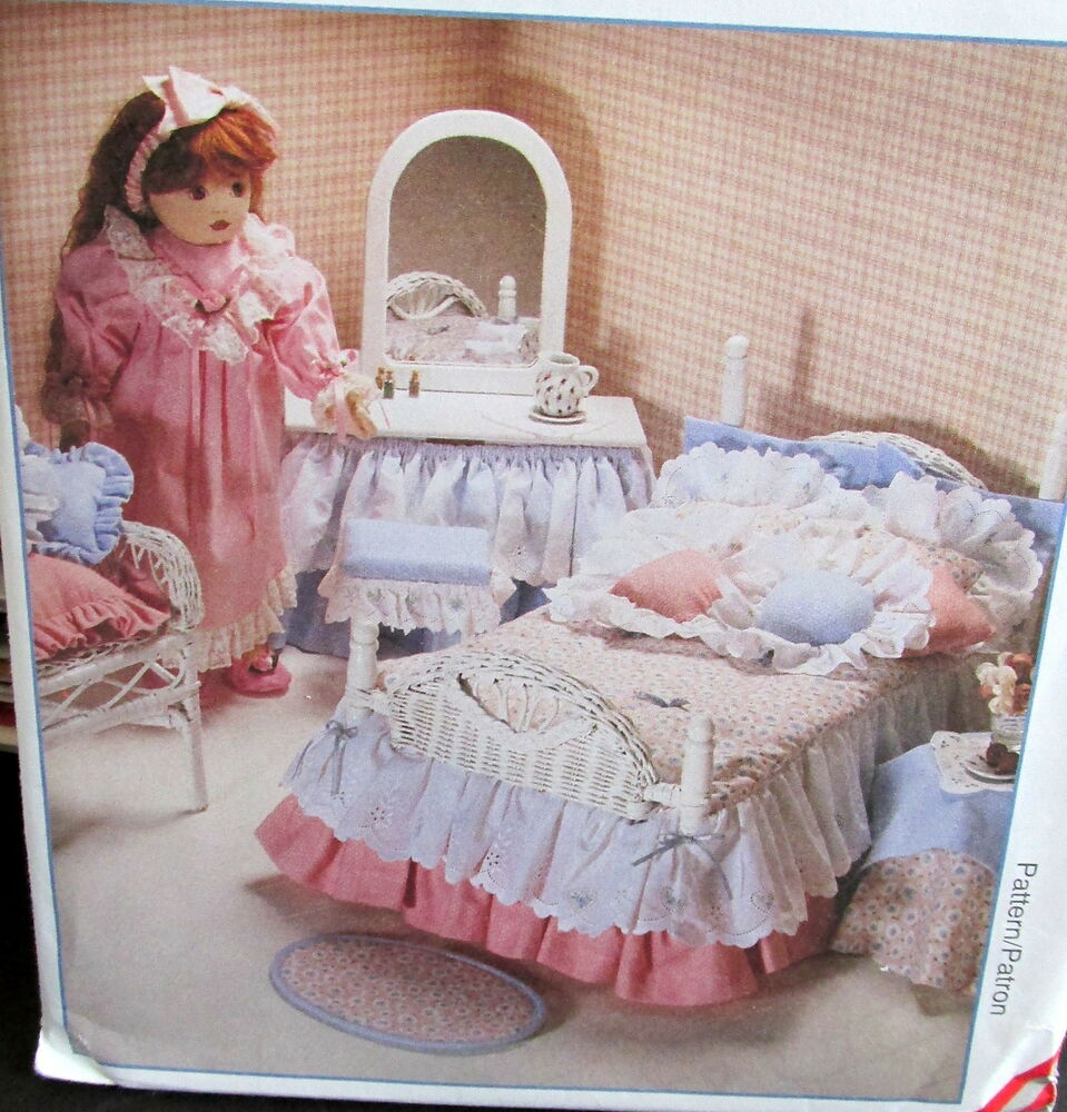 M8510 doll pattern bedroom furniture accessory rug 18 doll bed quilt ebay for Quilted headboard bedroom sets