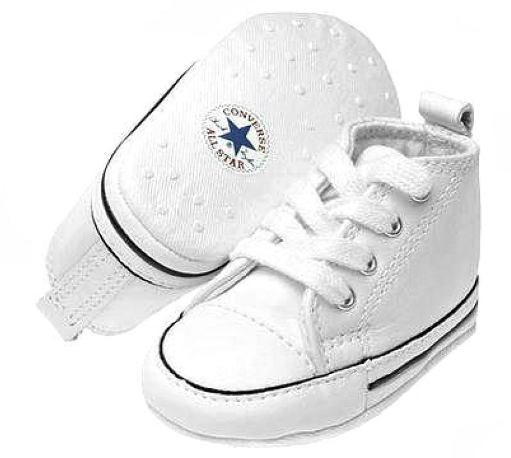 Converse All Star White Leather Baby Crib Infant Shoes Boy ...