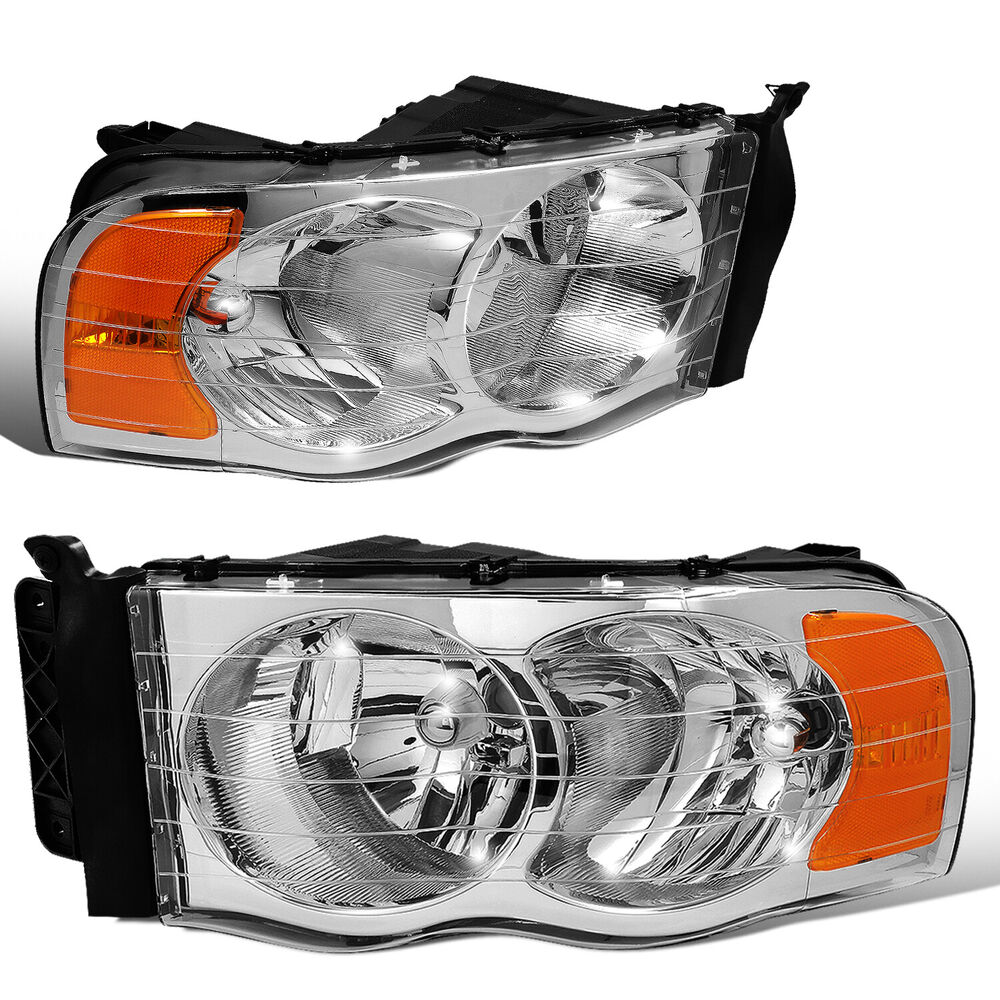 Dodge Replacement Headlights: CHROME HOUSING AMBER REFLECTOR OEM REPLACEMENT HEADLIGHT