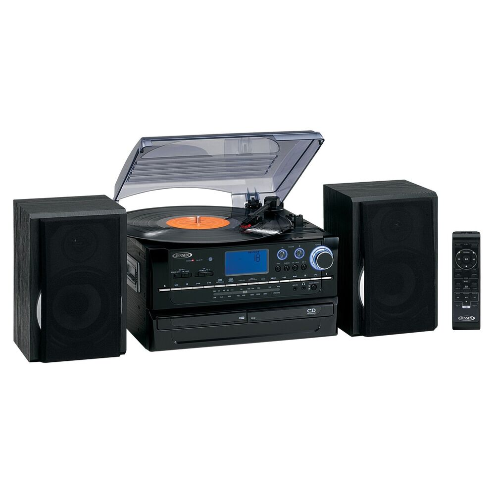 new jensen 3 speed turntable cd player recorder. Black Bedroom Furniture Sets. Home Design Ideas