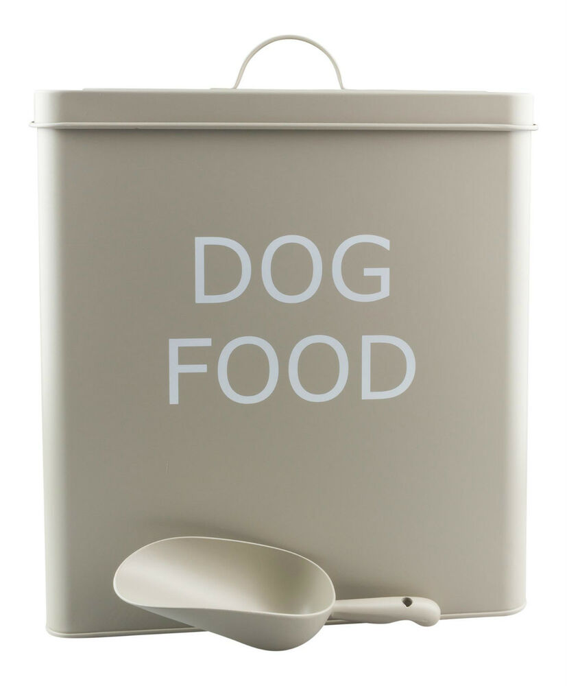 xl vintage retro style dog food storage tin box with scoop in olive colour new ebay. Black Bedroom Furniture Sets. Home Design Ideas