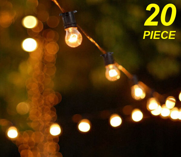 Vintage Outdoor String Lights Solar : 20 Metre Clear Festoon / Party / Wedding String Light Kit - Vintage Retro Style eBay