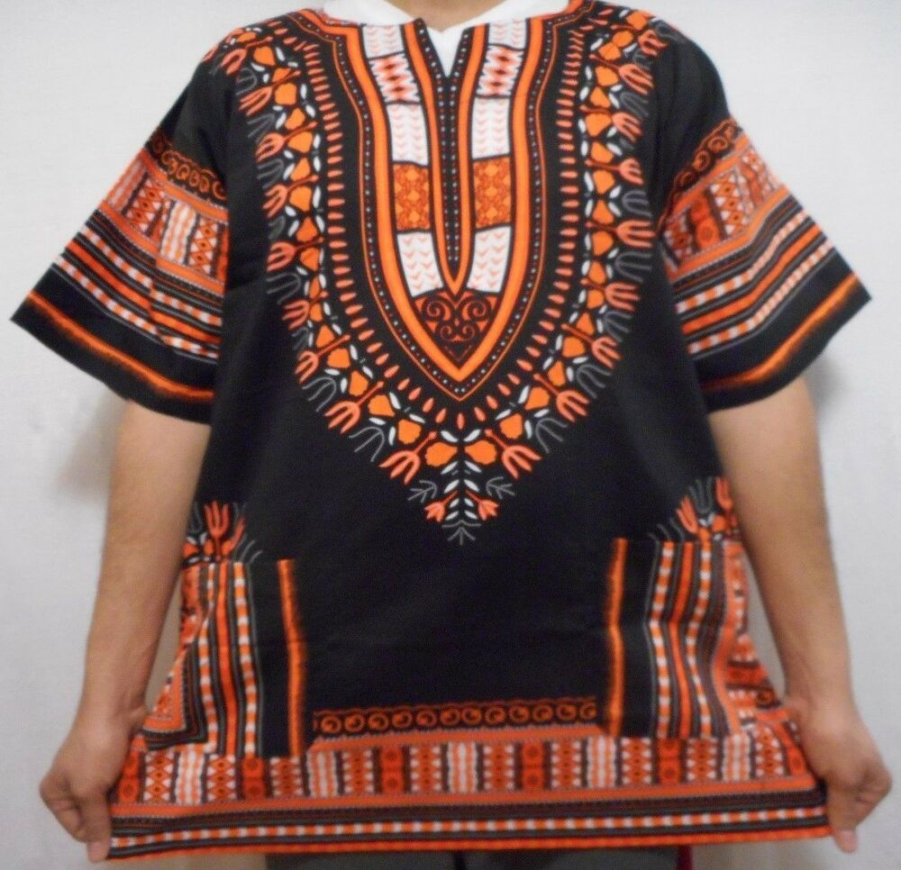 Mens Dashiki Shirt Women African Blouse Top Hippie Black ...