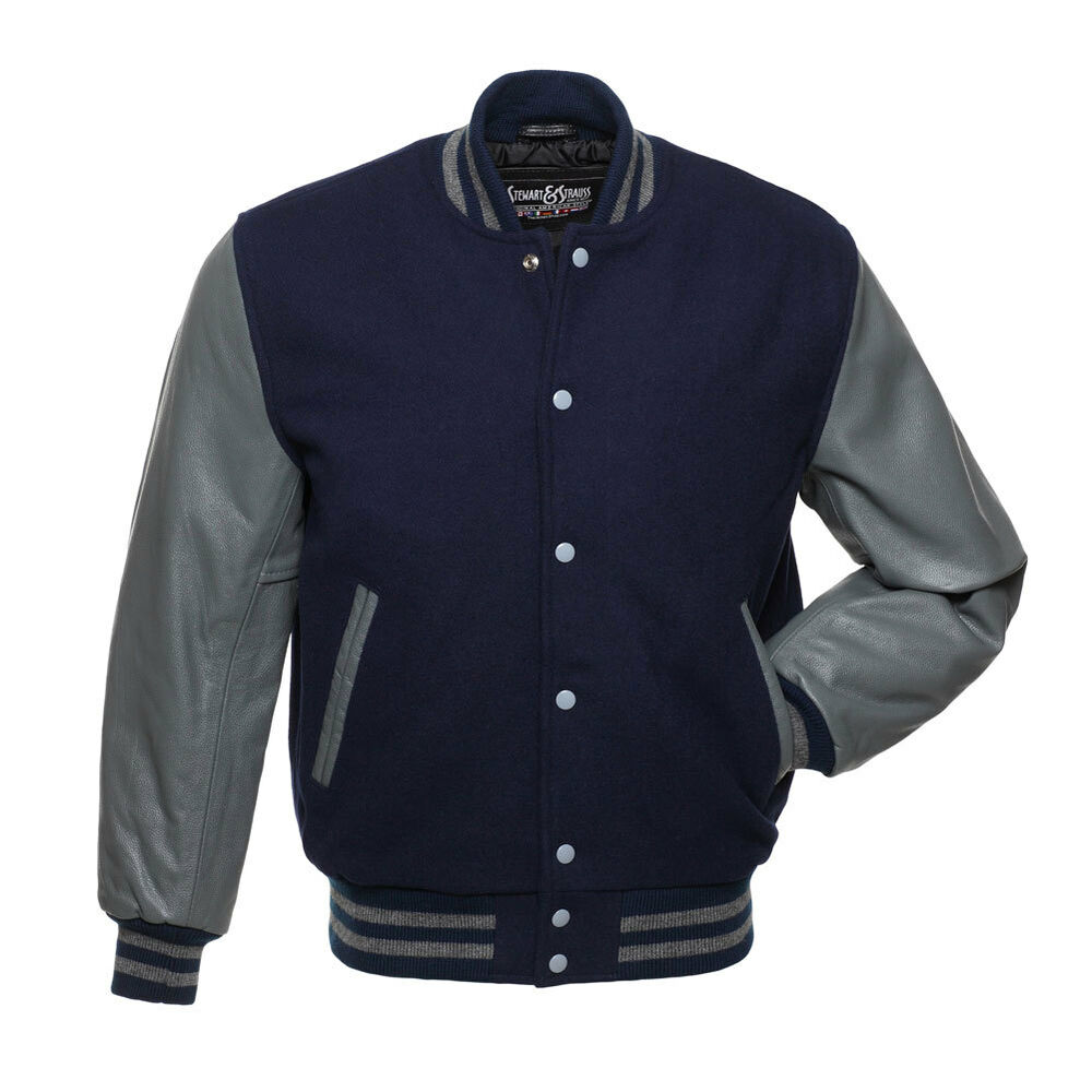 New Navy Blue Wool and Grey Leather Varsity Letterman