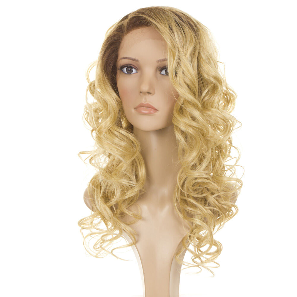 Holly Human Hair Blend Wig Long Curly Rooted Blonde Lace