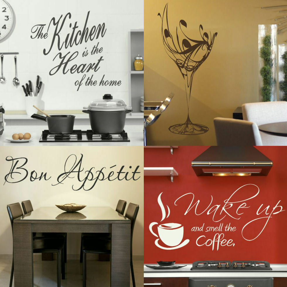 Removable Wall Art Decals Quotes : Kitchen wall quotes easy removable home transfer