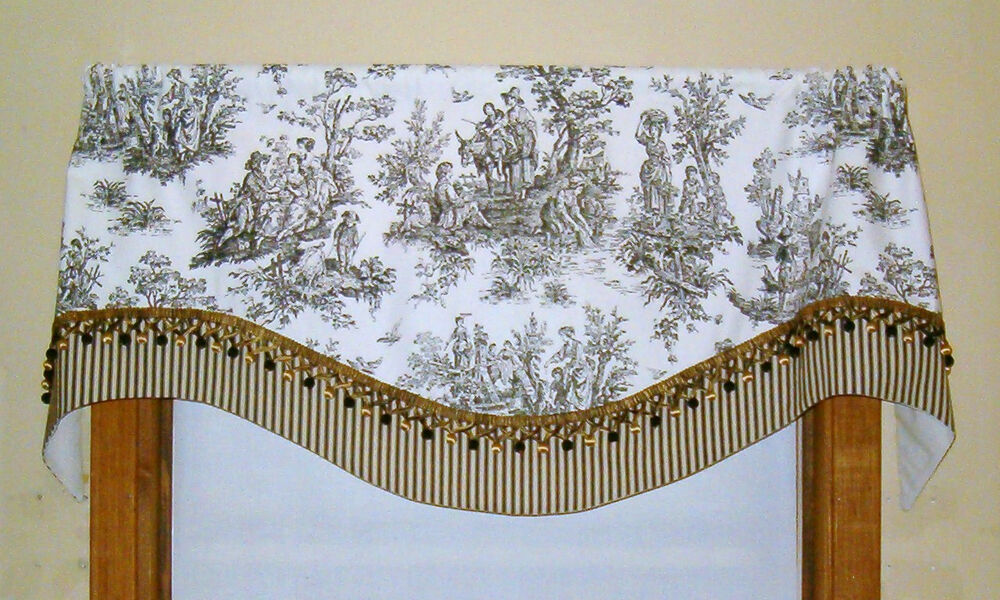 French Country Valance In Black And White Toile With