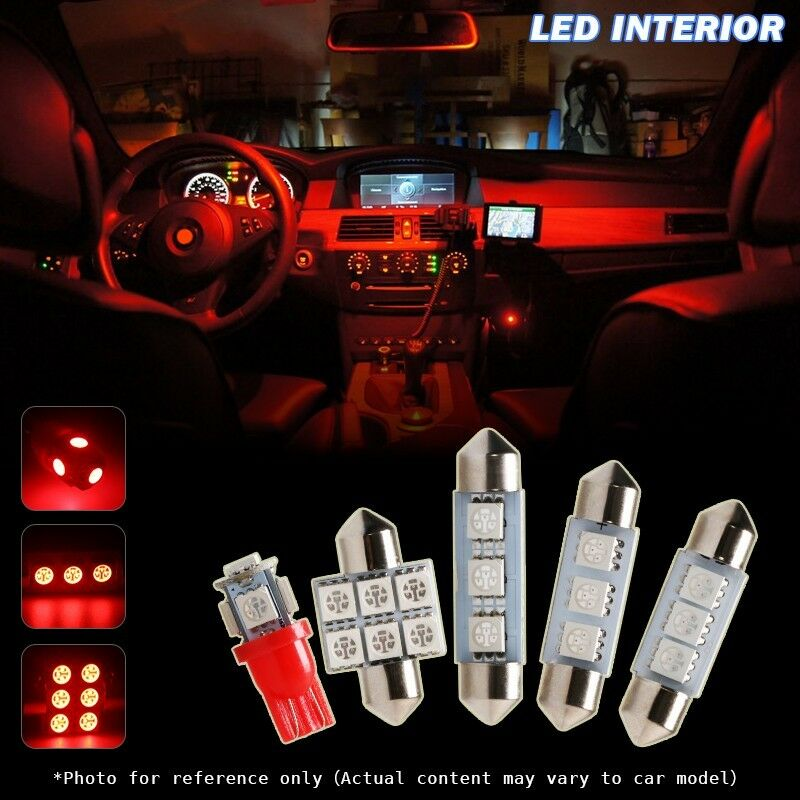 6 X Red Led Interior Map Dome License Trunk Kit For 2004