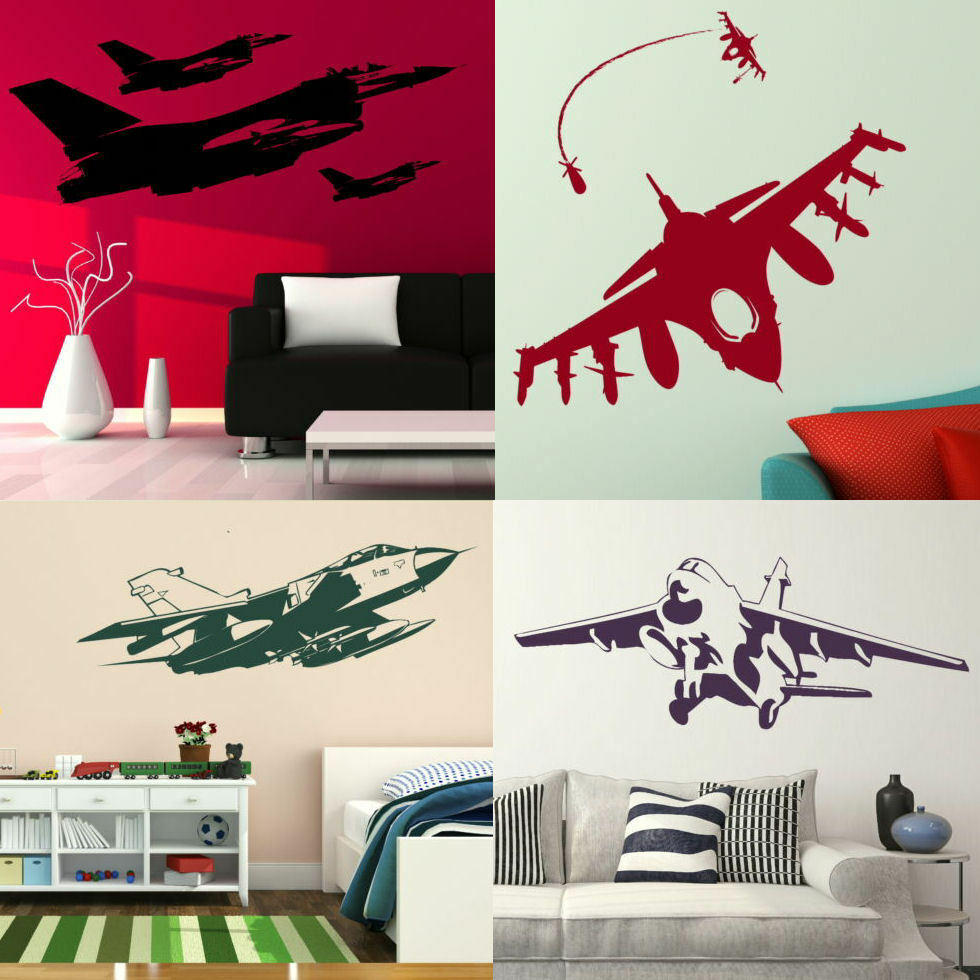 Aeroplane Wall Stickers Removable Fighter Jet Transfers Boys Bedroom Army Art Ebay