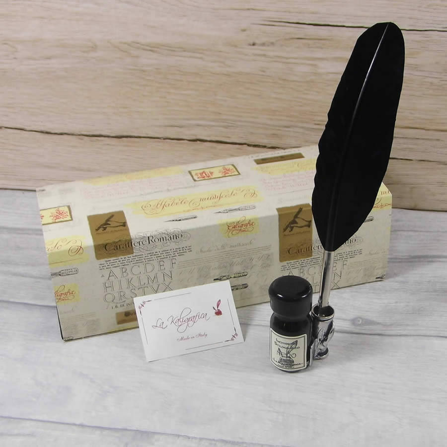 Calligraphy Set Small Black Feather Quill Ink Set